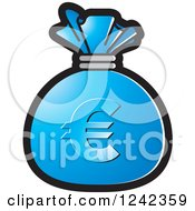 Clipart Of A Blue Money Bag With A Euro Symbol Royalty Free Vector Illustration by Lal Perera