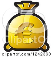 Clipart Of A Gold Money Bag With A Euro Symbol Royalty Free Vector Illustration by Lal Perera