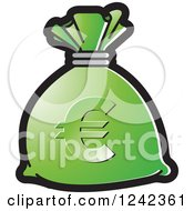 Clipart Of A Green Money Bag With A Euro Symbol Royalty Free Vector Illustration by Lal Perera