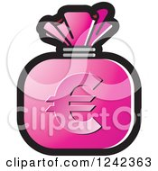 Clipart Of A Pink Money Bag With A Euro Symbol Royalty Free Vector Illustration by Lal Perera