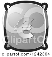 Clipart Of A Silver Money Bag With A Euro Symbol Royalty Free Vector Illustration by Lal Perera