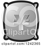Clipart Of A Silver Money Bag With A Yen Symbol Royalty Free Vector Illustration by Lal Perera