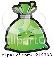 Clipart Of A Green Money Bag With A Yen Symbol Royalty Free Vector Illustration by Lal Perera