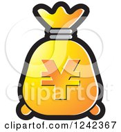 Clipart Of A Yellow And Orange Money Bag With A Yen Symbol Royalty Free Vector Illustration by Lal Perera