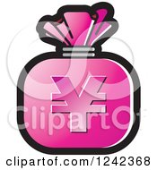 Clipart Of A Pink Money Bag With A Yen Symbol Royalty Free Vector Illustration by Lal Perera