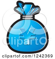Clipart Of A Blue Money Bag With A Yen Symbol Royalty Free Vector Illustration by Lal Perera