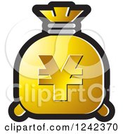Clipart Of A Gold Money Bag With A Yen Symbol Royalty Free Vector Illustration by Lal Perera