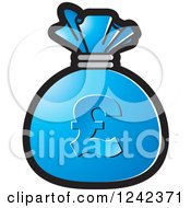 Clipart Of A Blue Money Bag With A Pound Currency Symbol Royalty Free Vector Illustration by Lal Perera
