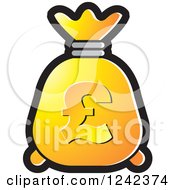 Clipart Of A Yellow And Orange Money Bag With A Pound Currency Symbol Royalty Free Vector Illustration by Lal Perera