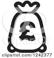 Clipart Of A Black And White Money Bag With A Pound Currency Symbol Royalty Free Vector Illustration by Lal Perera