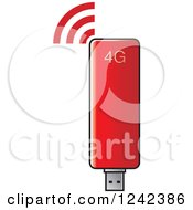 Clipart Of A Red Usb Modem Royalty Free Vector Illustration by Lal Perera