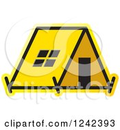 Clipart Of A Yellow Tent Royalty Free Vector Illustration by Lal Perera