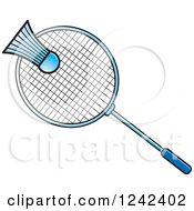 Clipart Of A Blue Badminton Shuttlecock And Racket Royalty Free Vector Illustration