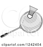 Clipart Of A Black And White Badminton Shuttlecock And Racket Royalty Free Vector Illustration