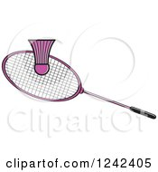 Clipart Of A Pink Badminton Shuttlecock And Racket Royalty Free Vector Illustration