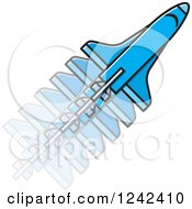Clipart Of A Blue Rocket In Motion Royalty Free Vector Illustration
