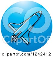 Clipart Of A Blue Rocket And Circle Royalty Free Vector Illustration