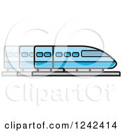 Clipart Of A Blue Train In Motion Royalty Free Vector Illustration