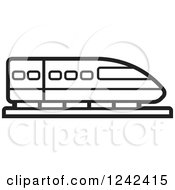 Clipart Of A Black And White Train Royalty Free Vector Illustration