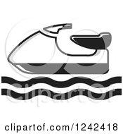Clipart Of A Black And White Water Scooter Jetski Royalty Free Vector Illustration by Lal Perera