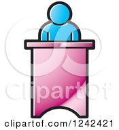 Clipart Of A Blue Person Speaking At A Podium Royalty Free Vector Illustration by Lal Perera