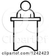 Clipart Of A Black And White Person Speaking At A Podium Royalty Free Vector Illustration by Lal Perera