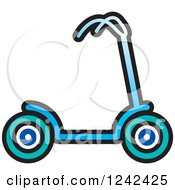Clipart Of A Blue Scooter Royalty Free Vector Illustration by Lal Perera