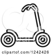 Clipart Of A Black And White Scooter Royalty Free Vector Illustration by Lal Perera