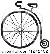 Clipart Of A Black And White One Wheel Penny Farthing Cycle Royalty Free Vector Illustration by Lal Perera
