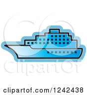 Clipart Of A Blue Cruise Ship Royalty Free Vector Illustration by Lal Perera