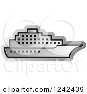 Clipart Of A Silver Cruise Ship Royalty Free Vector Illustration by Lal Perera