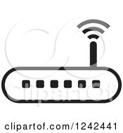 Clipart Of A Black And White Wireless Router Royalty Free Vector Illustration by Lal Perera