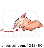 Clipart Of A Hand Drawing A Circle With A Red Marker Pen Royalty Free Vector Illustration