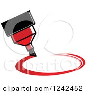 Clipart Of A Red Marker Pen Drawing A Circle Royalty Free Vector Illustration by Lal Perera