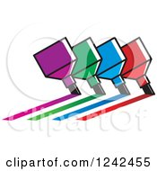 Clipart Of Colorful Marker Pens Drawing Lines Royalty Free Vector Illustration by Lal Perera