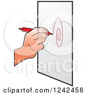 Clipart Of A Hand Drawing A Spiral With A Red Marker Pen Royalty Free Vector Illustration