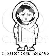 Clipart Of A Black And White Indian Lady 6 Royalty Free Vector Illustration