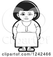 Clipart Of A Black And White Indian Lady 7 Royalty Free Vector Illustration