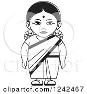 Clipart Of A Black And White Indian Lady 3 Royalty Free Vector Illustration