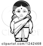 Clipart Of A Black And White Indian Lady 4 Royalty Free Vector Illustration