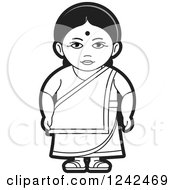 Clipart Of A Black And White Indian Lady 5 Royalty Free Vector Illustration