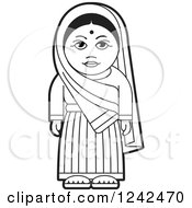 Clipart Of A Black And White Indian Lady Royalty Free Vector Illustration