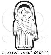 Clipart Of A Black And White Indian Lady 2 Royalty Free Vector Illustration