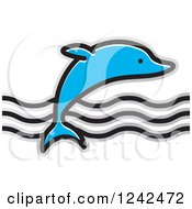Clipart Of A Leaping Dolphin And Waves Royalty Free Vector Illustration by Lal Perera