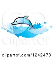 Clipart Of A Leaping Dolphin And Splashing Waves Royalty Free Vector Illustration by Lal Perera