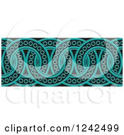 Clipart Of A Border Of Black And Turquoise Rings Royalty Free Vector Illustration by Lal Perera