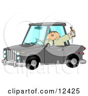 Drunk Male Alcoholic Putting Others At Risk While Operating A Vehicle And Drinking A Bottle Of Beer Clipart Illustration
