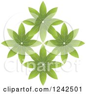 Clipart Of Green Flowers Royalty Free Vector Illustration