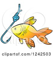 Clipart Of A Goldfish And Hook Royalty Free Vector Illustration by Lal Perera