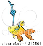 Clipart Of A Goldfish Caught On A Hook Royalty Free Vector Illustration by Lal Perera
